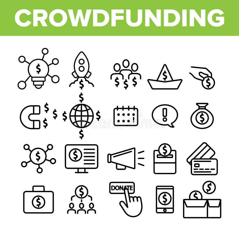 Crowdfunding, grupo linear dos ícones do vetor coletivo do investimento ilustração stock