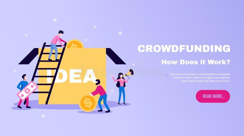 Crowdfunding horisontalWebsitebaner vektor illustrationer