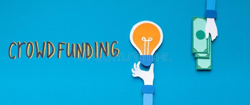 Crowdfunding i affärsidén för inte stor mängd pengar arkivfoton