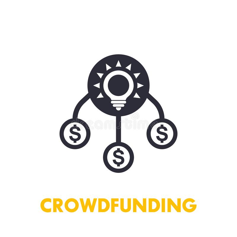 crowdfunding icon on white stock vector illustration of mutualstock