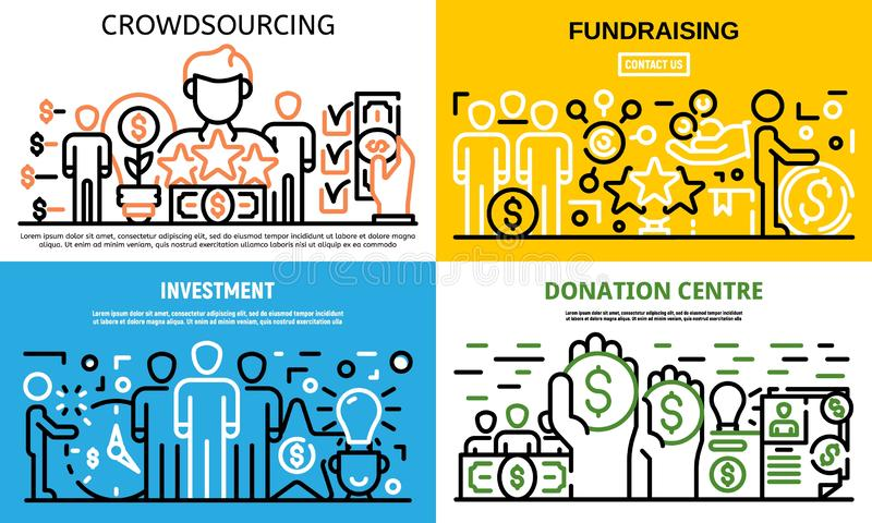 Crowdfunding idea banner set, outline style. Crowdfunding idea banner set. Outline set of crowdfunding idea vector banner for web design royalty free illustration