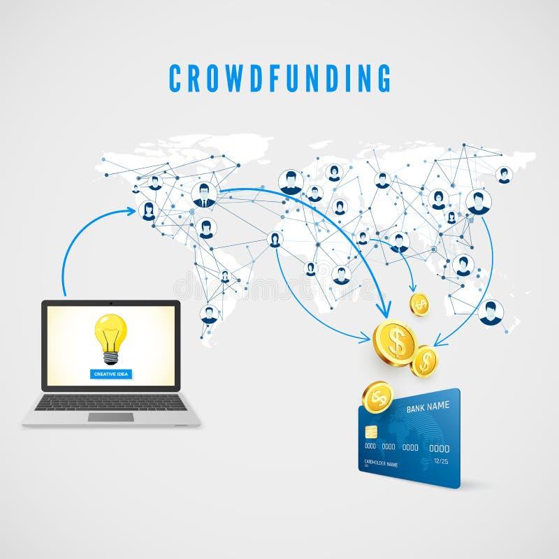 Crowdfunding La gente de la red global que dona el dinero para la idea del negocio y ayuda a desarrollar proyecto Ilustración del ilustración del vector