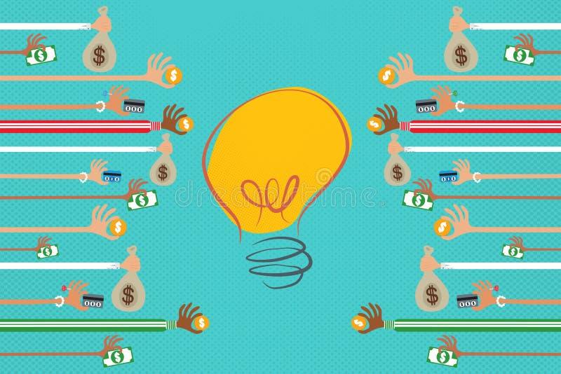 Crowdfunding och affärsaktieägarebegrepp stock illustrationer