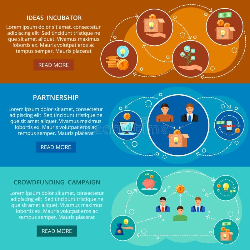 Crowdfunding 3 Płaskiego sztandaru Ustawiającego ilustracji