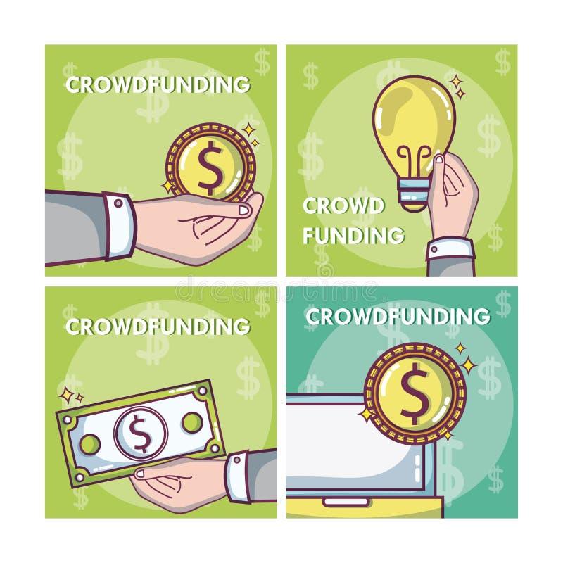 Crowdfunding pieniądze biznesu ramy ilustracja wektor