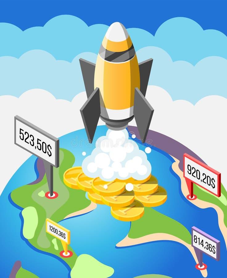 Crowdfunding Początkowy Isometric skład ilustracji