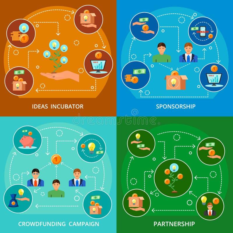 Crowdfunding pojęcia 4 Płascy składy ilustracja wektor