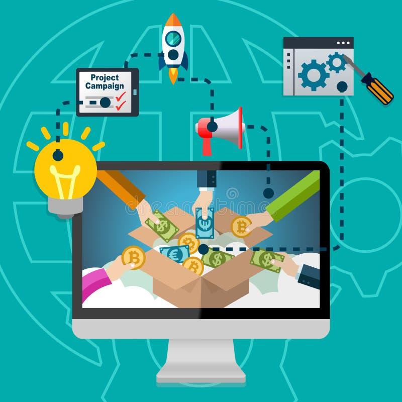 Crowdfunding process Infographic stock illustrationer