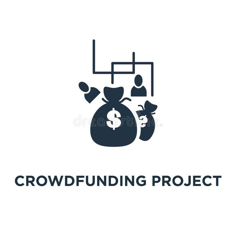 crowdfunding projektsymbol fundraising design för aktionbegreppssymbol, pengardonation, välgörenhetfond, pengarpåsar, inkomsttill stock illustrationer