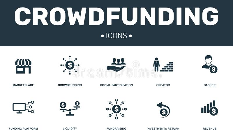 Crowdfunding set icons collection. Includes simple elements such as Marketplace, Creator, Backer, Funding platform and. Fundraising premium icons vector illustration