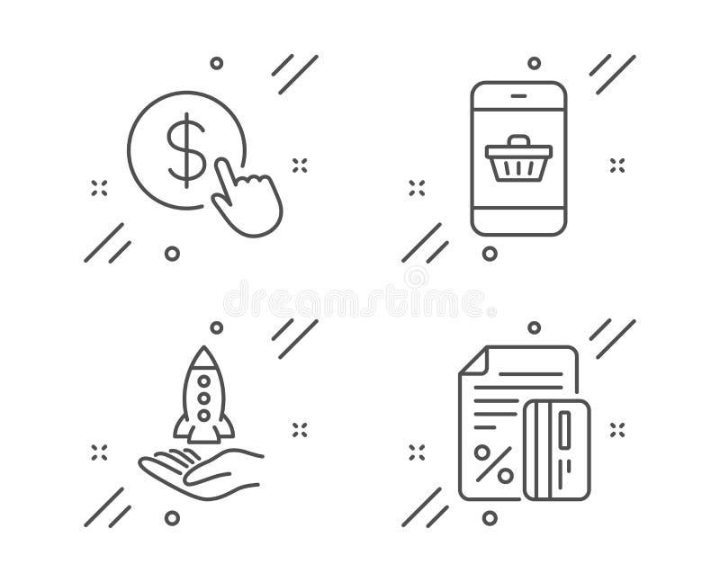Crowdfunding, Smartphone-Kauf und Buy Currency-Icons Kreditkartenzeichen Vector stock abbildung