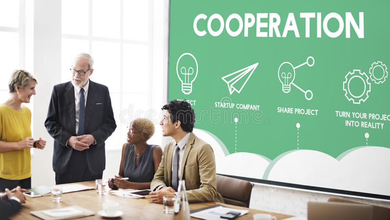 Crowdfunding Startup Business Crowdsourcing Cooperation Graphic. Business Brainstorming Crowdfunding Startup Crowdsourcing Cooperation Graphic stock image