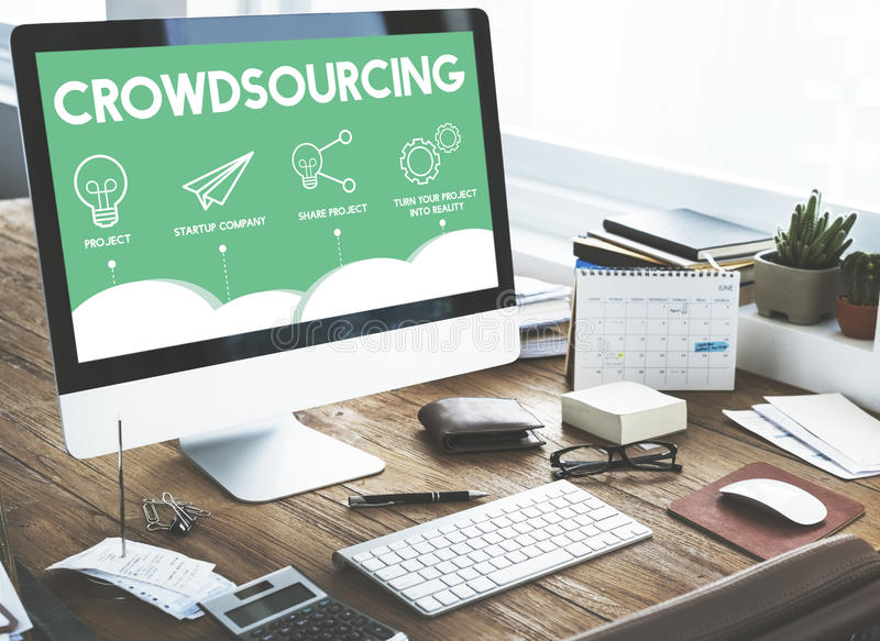 Crowdfunding Startup Business Crowdsourcing Cooperation Graphic. Business Crowdsourcing Cooperation Graphic Concept royalty free stock photos