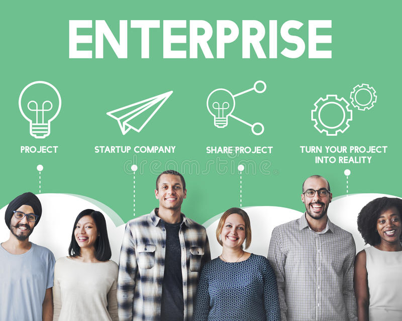 Crowdfunding Startup Business Crowdsourcing Cooperation Graphic. Diverse Business People Crowdfunding Startup Business Crowdsourcing Cooperation Graphic royalty free stock photos