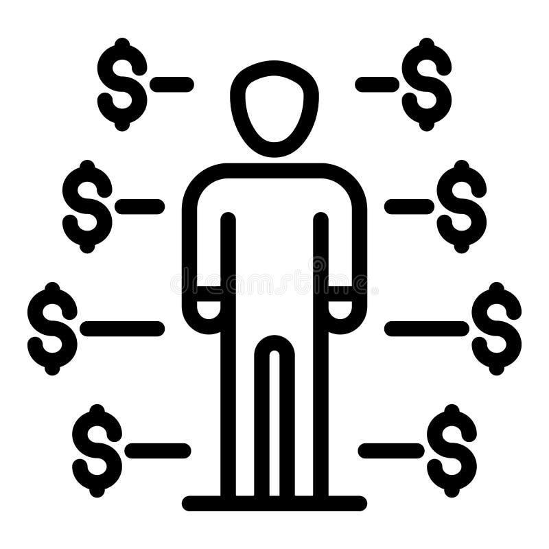 Crowdfunding symbol för manstart, översiktsstil royaltyfri illustrationer