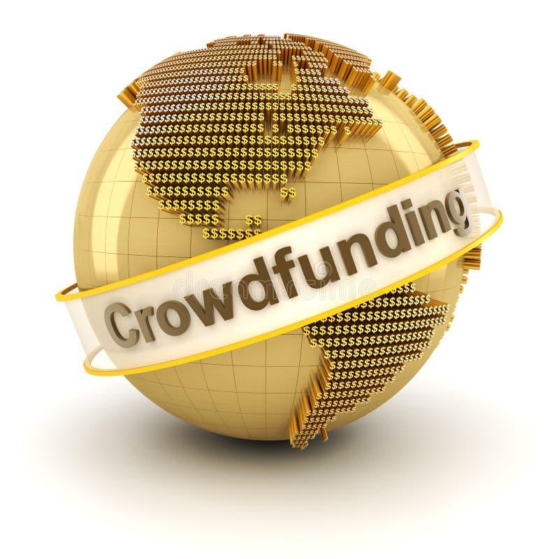 Crowdfunding symbol z kulą ziemską tworzącą dolarem ilustracja wektor