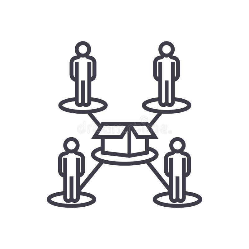 Crowdfunding, vector de lijnpictogram van het mensennetwerk, teken, illustratie op achtergrond, editable slagen vector illustratie