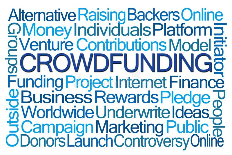 Crowdfunding Word Cloud. On White Background royalty free illustration