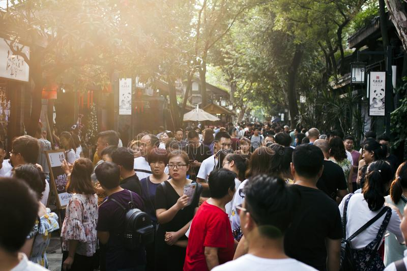Crowds at Famous Tourist Sight in Chengdu Street. stock photography
