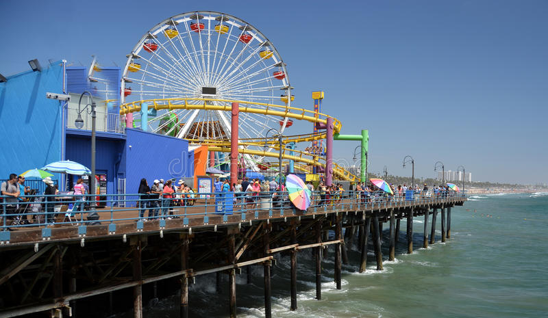 Crowds Flock to the Santa Monica Pier on a hot Summer Day. royalty free stock image