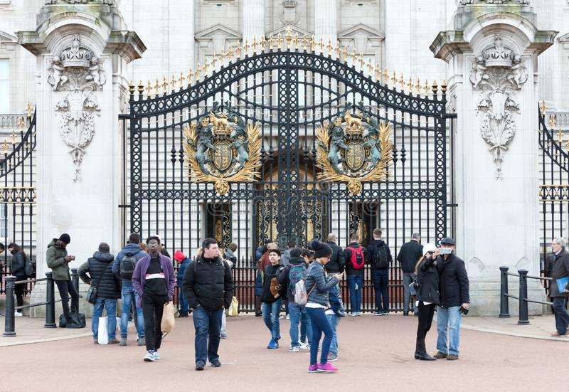 Crowds gather outside Buckingham Palace to watch the changing of the guard ceremony stock photo