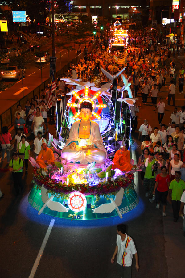Crowds Parading With Floats A Wesak Procession Editorial Photo