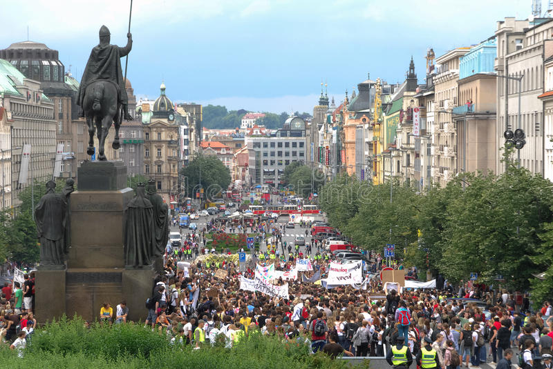 Crowds of people protesting at Prague main Wenceslas Square with an equestrian statue stock photos