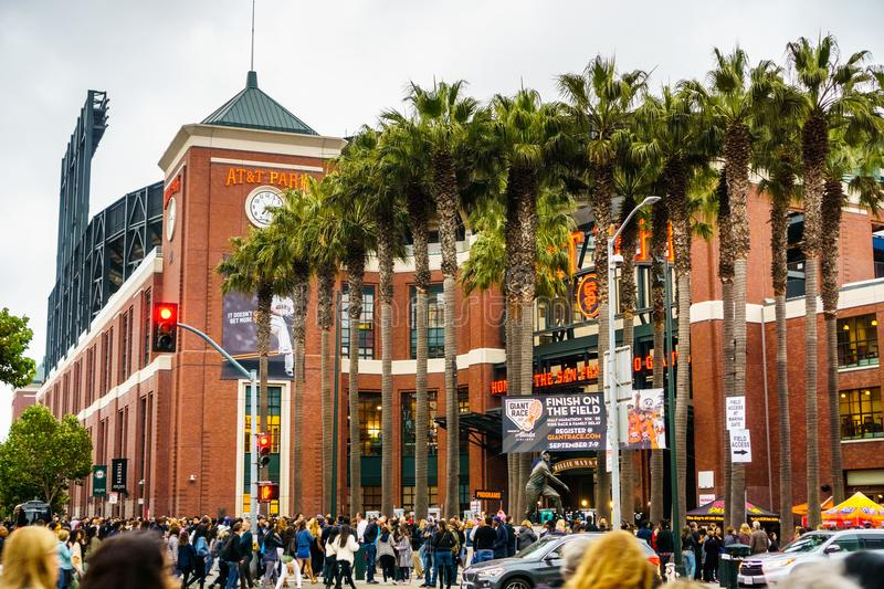 Crowds of people waiting to go inside AT&T Park royalty free stock photo