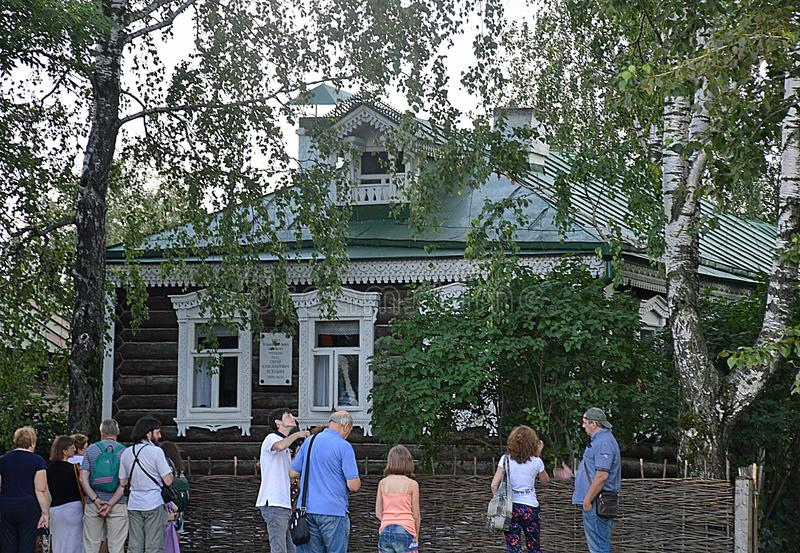 Tourists in Konstantinovo, the Home of the Russian Poet Sergei Esenin stock image