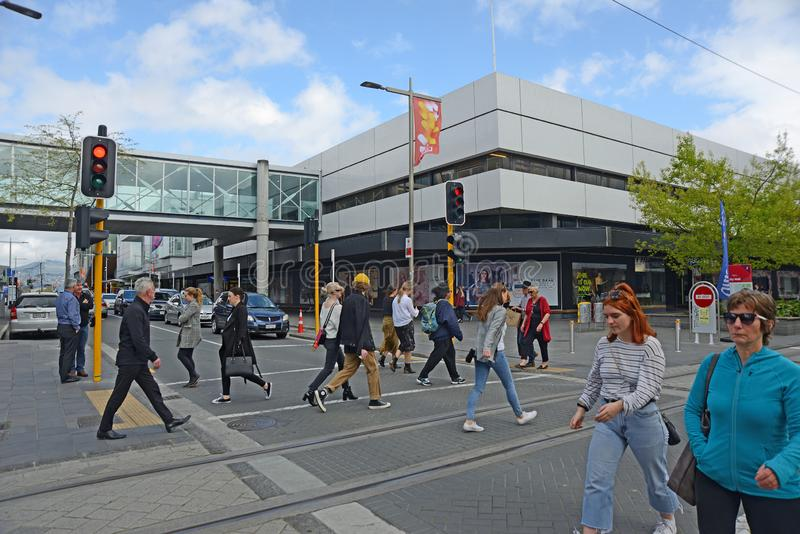 Crowds visit downtown Christchurch royalty free stock photo