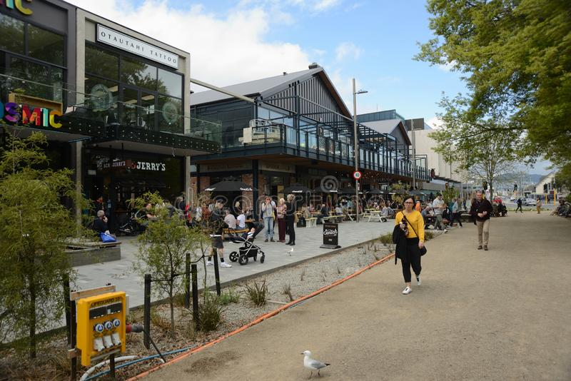 Crowds visit downtown Christchurch stock photo