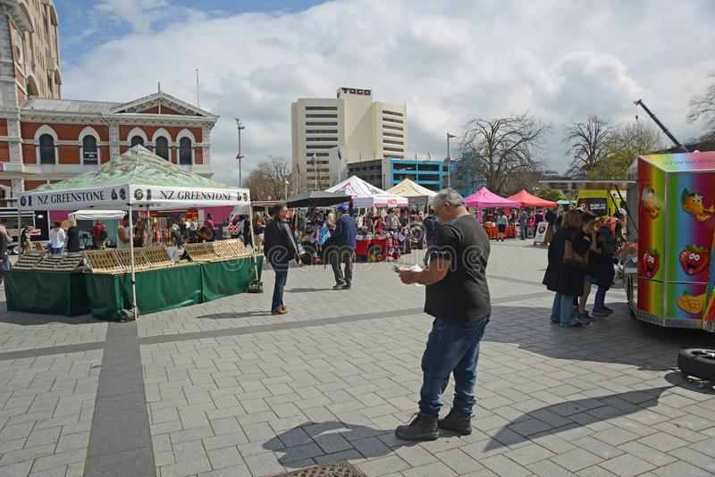 Crowds visit downtown Christchurch royalty free stock images
