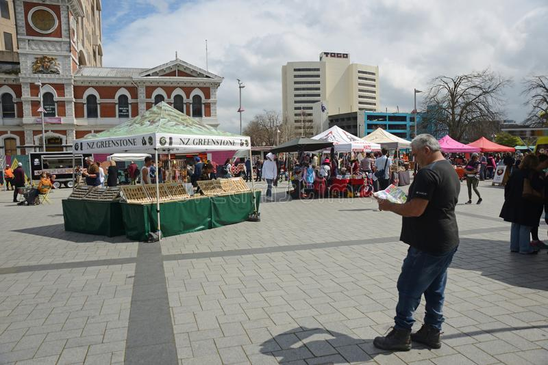 Crowds visit downtown Christchurch stock photos