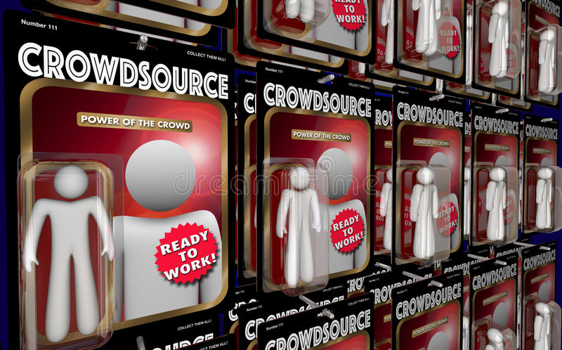 Crowdsource行动象征工作者真正劳工3d Illustra 向量例证