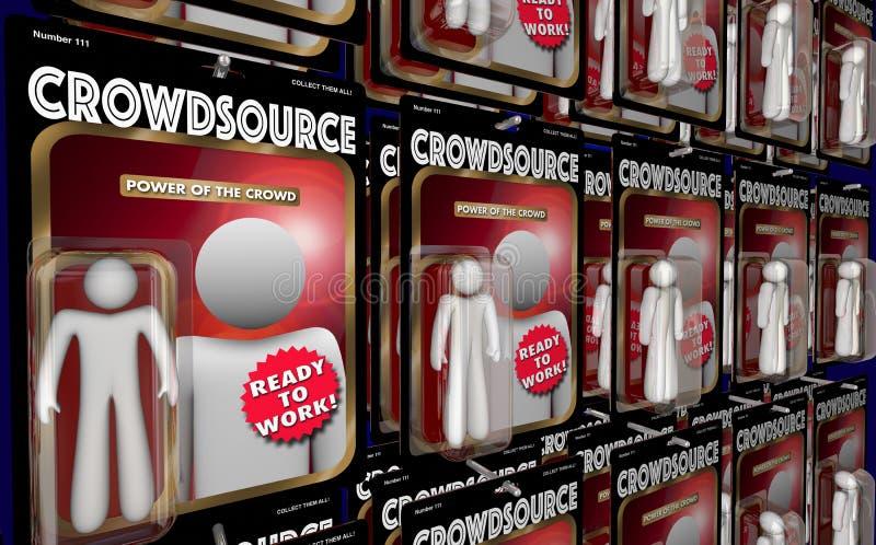 Crowdsource-Action-Figur-Arbeitskraft-virtuelle Arbeitskräfte 3d Illustra vektor abbildung