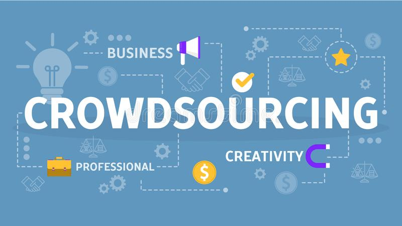 Crowdsourcing概念 分享想法的全球性队  库存例证