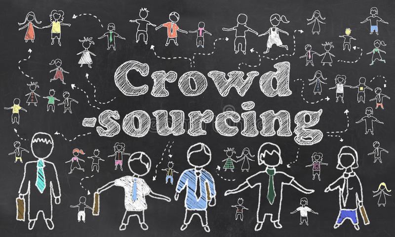 Crowdsourcing που διευκρινίζεται στον πίνακα ελεύθερη απεικόνιση δικαιώματος