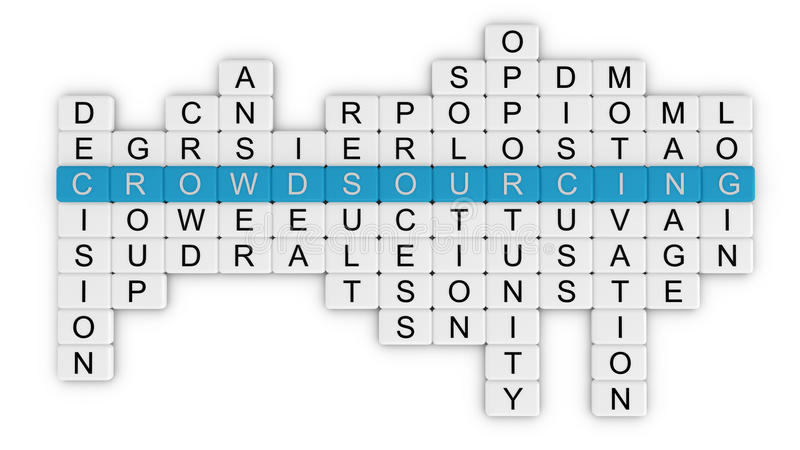 Crowdsourcing crossword_top view vector illustration