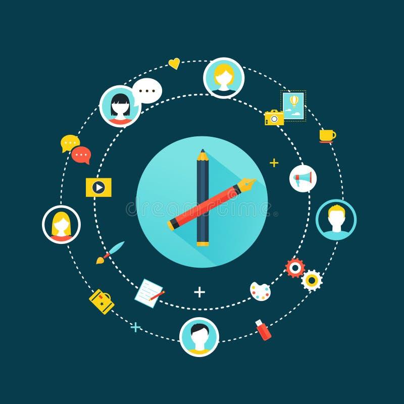 Crowdsourcing et icônes sociales de concept de la Communauté de réseau illustration de vecteur