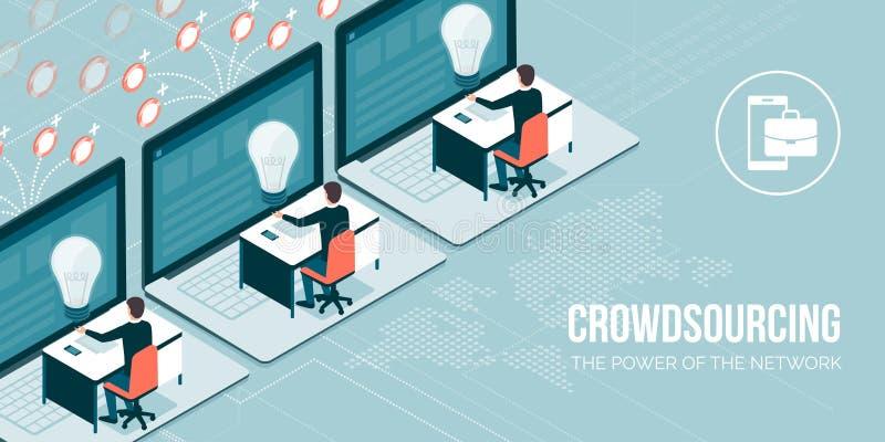 Crowdsourcing och telework vektor illustrationer