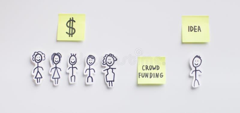 Crowdsourcing-Ressource wo Investoren, die in den Ideen crowdfunding sind lizenzfreies stockbild