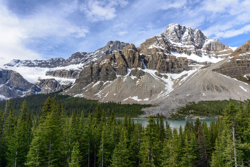 Crowfoot glacier, Bow lake and Forest in Banff National Park stock image