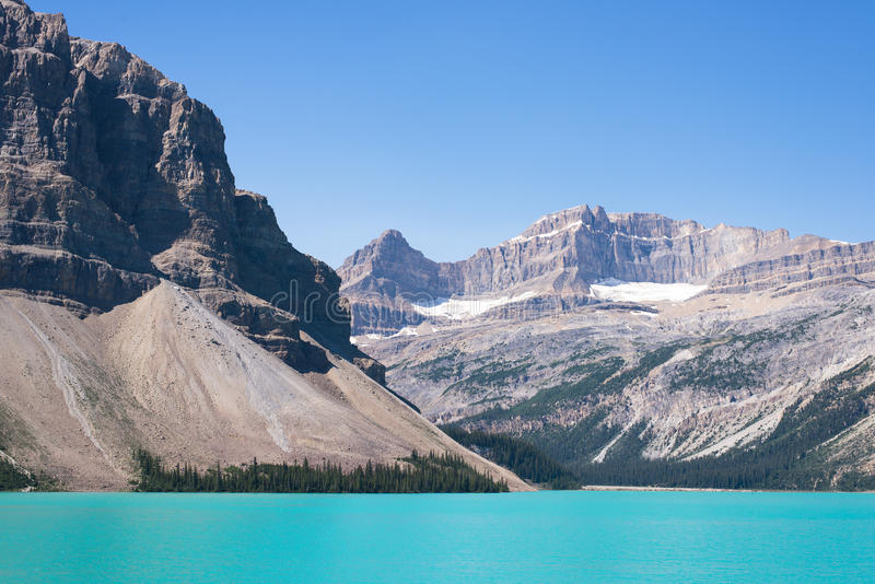 Crowfoot mountain and glacier lake in Banff stock photo