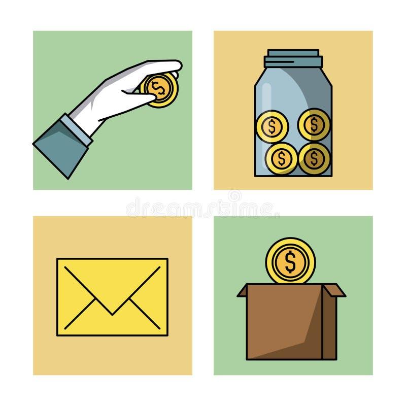 Crowfunding zarządzania ikony ustawiać ilustracji