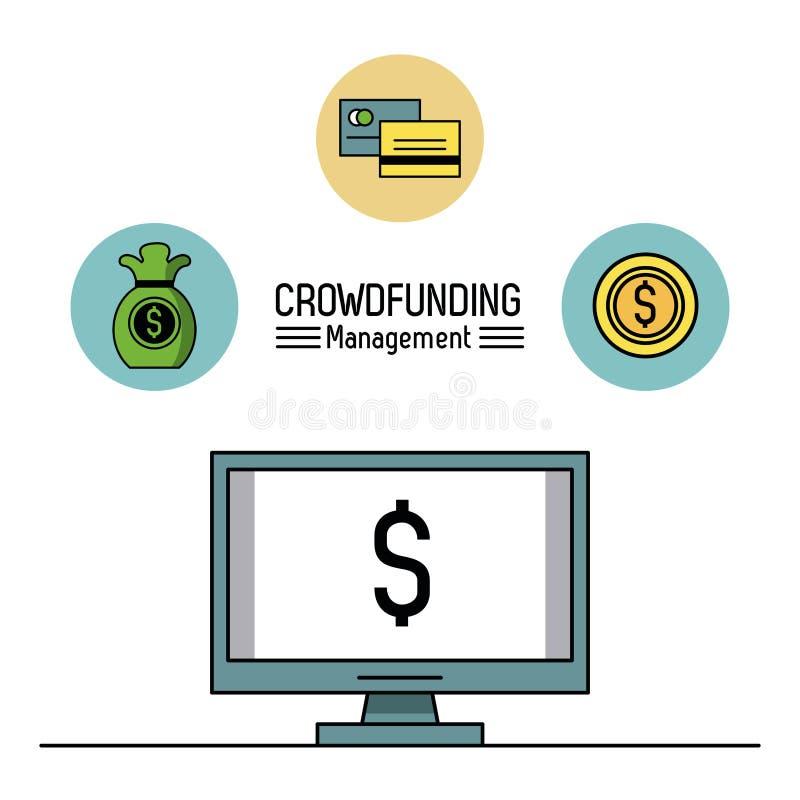 Crowfunding zarządzanie infographic ilustracja wektor