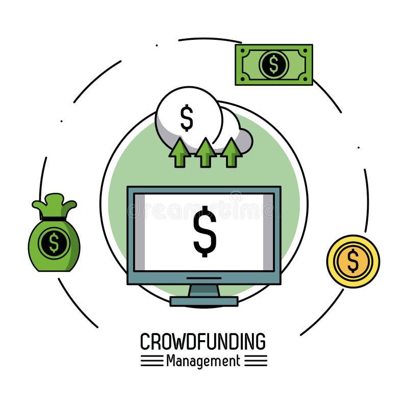 Crowfunding zarządzanie infographic ilustracji