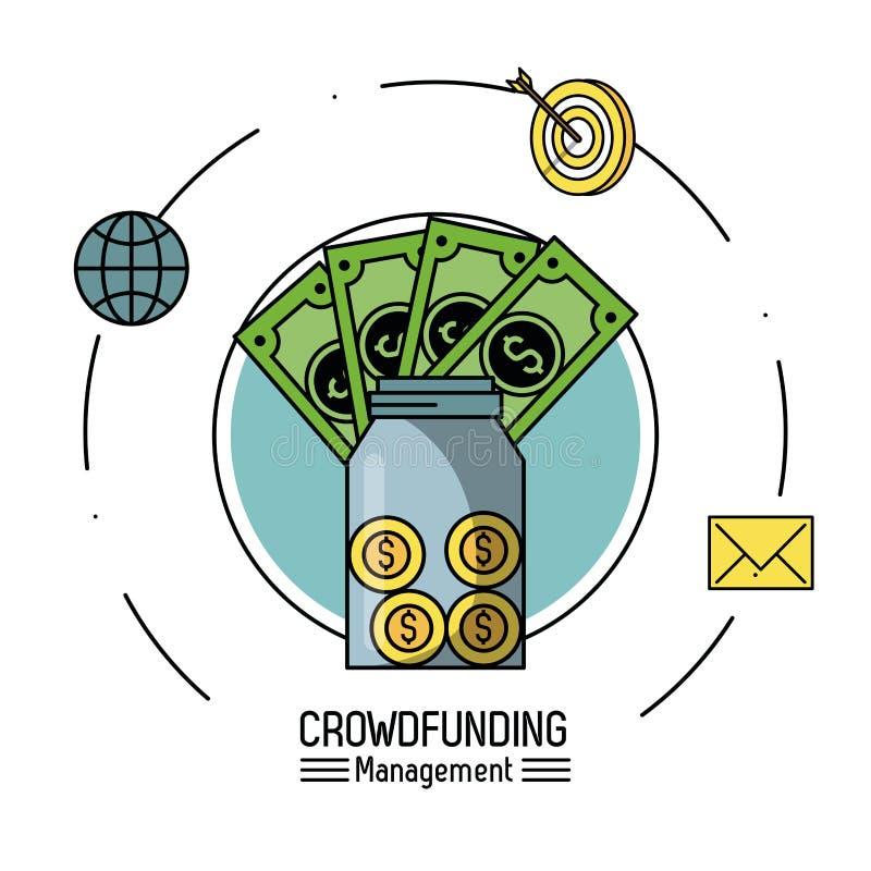 Crowfunding zarządzanie infographic royalty ilustracja