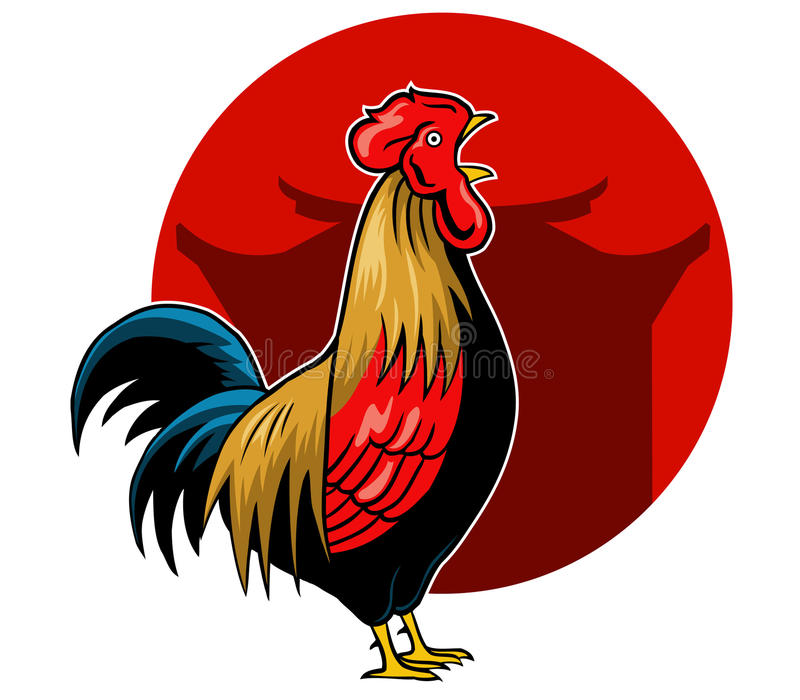Crowing Rooster. Vector illustration for Chinese new year theme vector illustration