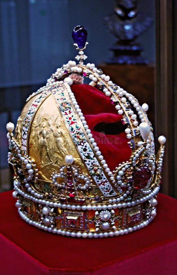 Crown. Golden crown of the Austro-Hungarian emperor Rudolf II stock photo
