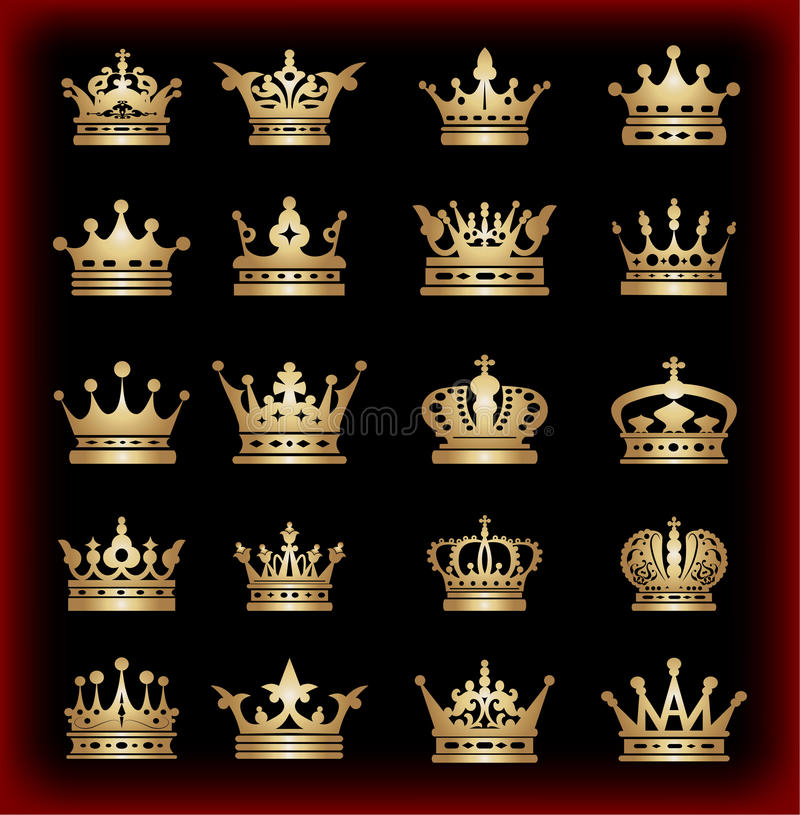 Free Crown. Big Set. Collection Icons. Vector. Vintage Royalty Free Stock Photo - 36314525